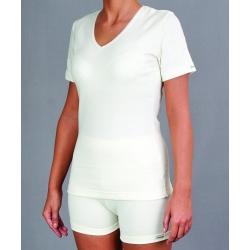 Moteriški vilnoniai marškinėliai trumpomis rankovėmis su gintaru PT 0525